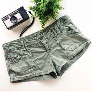 American Eagle Army Green Booty Short Shorts